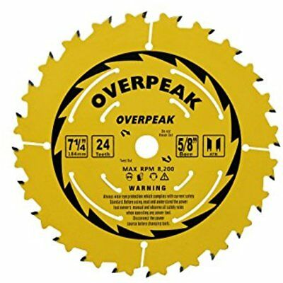"Circular Saw Blades 7-1/4 Inch 24 Tooth ATB 5/8"" Arbor Ripping Crosscutting With"