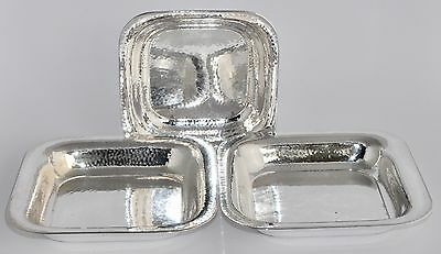 546g - 3 Vintage German 800 Silver Hammered Square Dishes - OTTO WOLTER