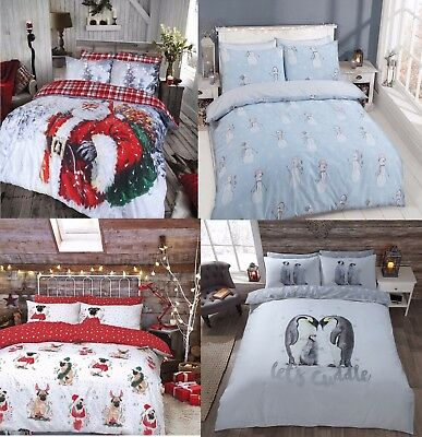 Christmas Quilt Duvet Cover Bedding Bed Sets 3 Sizes Festive Santa Xmas New