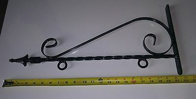 "21"" Wrought Iron Scroll Bracket for Signs or Flowers, Black Finish NEW"