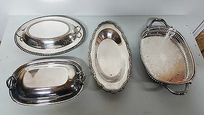 Nice Lot of 4 Silver Plated Dishes Platters & Tops
