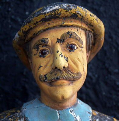 Rare Carved Wood with Glass Eyes Folk-art Fairground Game Statue c.1940