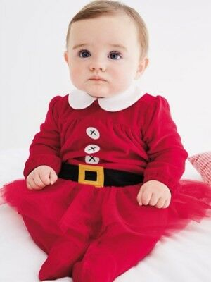 Next Baby Girl Red Velour Christmas Xmas Santa Outfit Set With Tutu First Size