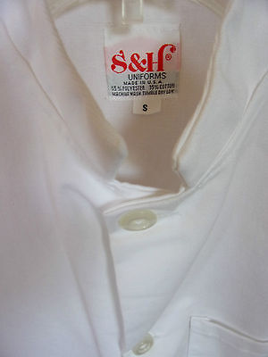 S & H Uniform Chef Culinary Jacket White Button Sz S Made Usa