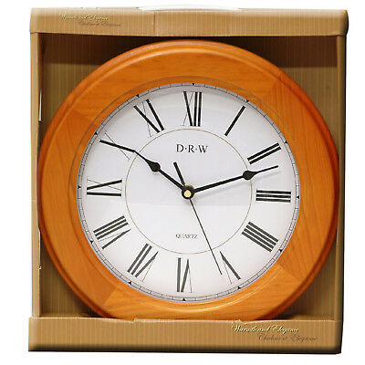 WOODEN WALL CLOCK 30cm DIAMETER  CLEAR ROMAN NUMBERS  TRADITIONAL WALL CLOCK