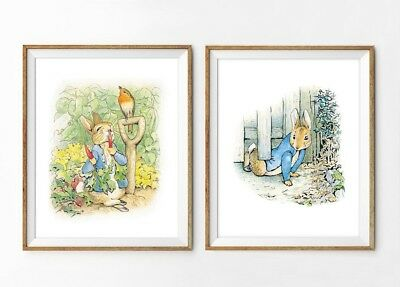 2 Peter Rabbit Nursery Prints Beatrix Potter Wall Art Decor Pictures Baby Gift