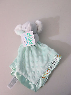 Carters Child Of Mine Elephant Security Blanket Lovey New Baby Green Dot Rattle