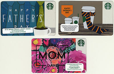 Starbucks Mothers Fathers Day Theme NEW Set of 3 Gift Cards No $ Value US/Canada