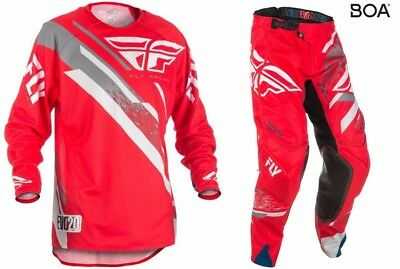 New Fly Racing Adult Mens Evolution 2.0 Red Grey Moto Jersey + Pants Combo