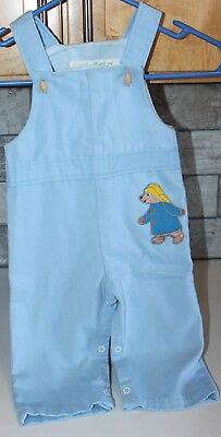 Adorable Vintage Thomas Paddington Bear Embroidered Overalls Romper Baby Boy