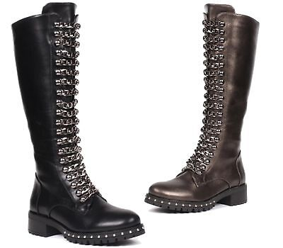 Ladies Womens Knee High Goth Chain Front Biker Punk Military Combat Boots Shoes