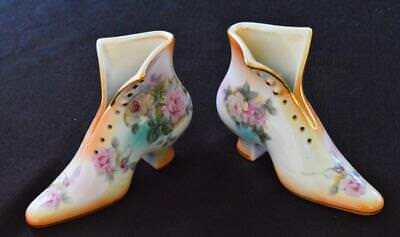 "Vtg RS PRUSSIA Fine Porcelain VICTORIAN LADY'S Pair of SHOES 4 1/4""h Figurines"