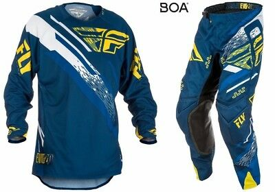 New Fly Racing Adult Mens Evolution 2.0 Navy Yellow Moto Jersey + Pants Combo