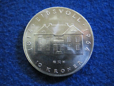 1964 Norway Silver 10 Kroner - Choice Bright Uncirculated - Free U S Shipping