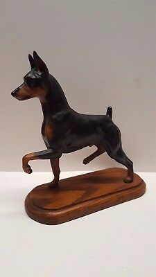 "Tony Acevedo Doberman Pinscher Min Pin dog sculpture wood base 9 1/2"" NICE!!"