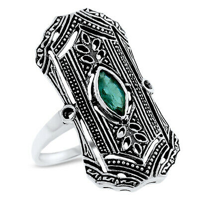 Classic Art Deco Genuine Emerald 925 Sterling Silver Antique Style Ring,   #1084