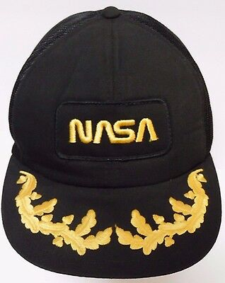 Vtg 1980s NASA Aeronautics Space Advertising SNAPBACK PATCH CAP HAT Gold Leaf