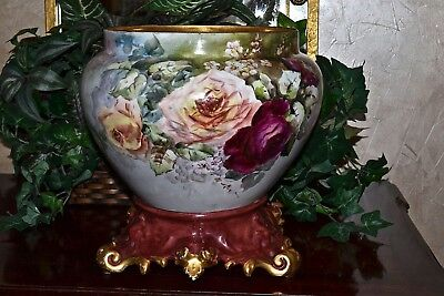 Limoges Jardiniere/Planter/Vase with Red/Pink/Yellow/Tea Roses and Ornate Plinth
