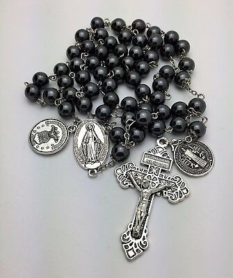 Military US Air Force St. Michael 8 mm Hematite Catholic Rosary Beads