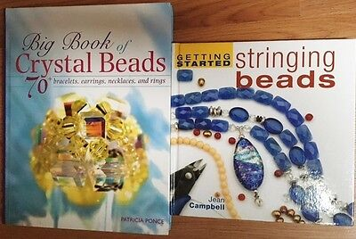Big Beautiful Book of Crystal Beads & Getting Started Stringing Beads - Lot of 2