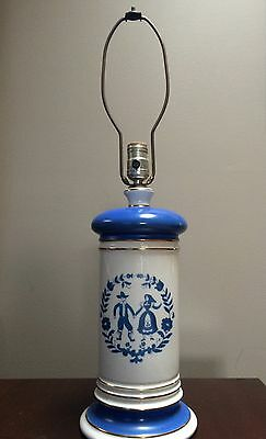 Vintage Large Pennsylvania Dutch Lamp, Amish, Blue And White, couple