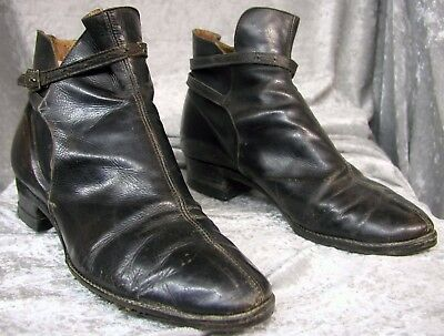 #17188, Unusual 1920's Women's Black Leather Riding Shoes