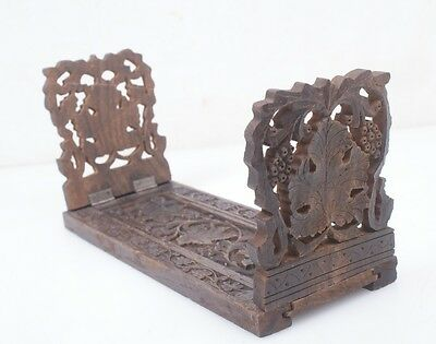 Antique Anglo-Indian Hand Carved Dark Wood Book Rack Shelf Ends Expandable