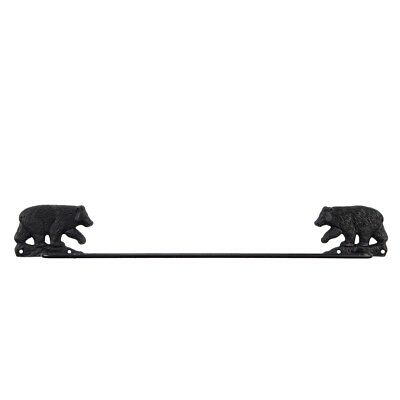 Black Cast Iron Metal Bear Bath Towel Rack Holder Hanger Rustic Bathroom Decor