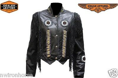 LADIES LEATHER JACKET WITH BEAD WORK AND FRINGE XS TO 2XL NEW  {260/Black}