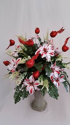 Christmas Cemetery Vase Poinsettias Red And White Candy Cane And Hollie Red Berr