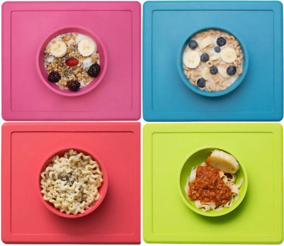 EZPZ - The Happy Bowl Placemat & Bowl in One Suction Choose Colour Silicone Kids