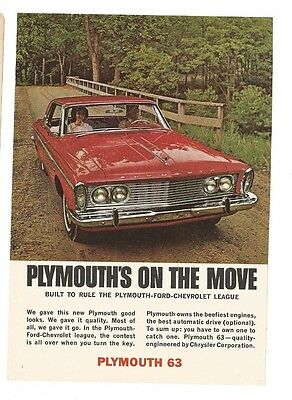 Vintage Magazine Print Ad 1963 PLYMOUTH Red Hardtop Car 5 1/4 W X 7 1/2 H Gd