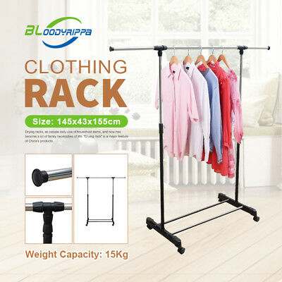 Portable Stainless Single Bar Clothes Garment Clothing Rack with Portable Wheels
