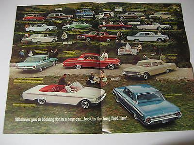 1962 Ford Galaxie, Falcon & Thunderbird Poster Brochure