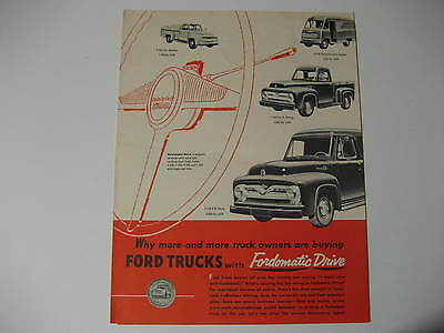 1956 Ford Truck Fordomatic Drive Foldout Brochure
