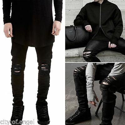 US Men's Distressed Ripped Jeans Moto Black Denim Pants Slim Skinny Fit Trousers
