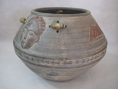 "Antique African Or Indian Hand Crafted Clay Ceramic Pot, 9"" T X 13"" W"