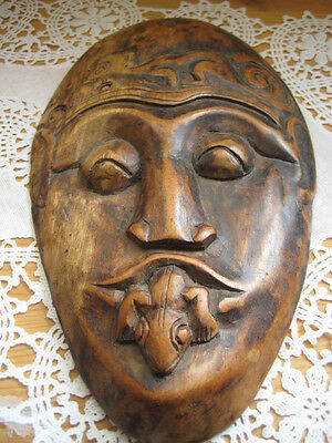 Vintage Indonesia Hand Carved Wooden Mask For Wall Hanging (Rare)
