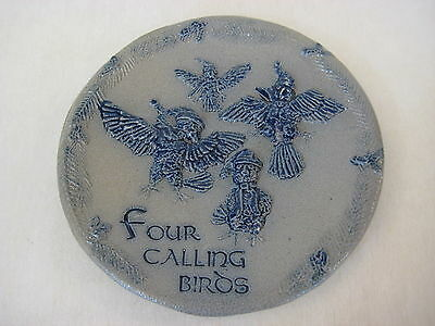 "Hand Made Rowe Pottery Works ""Four Calling Birds"" Decorative Plate, 6 1/2"""