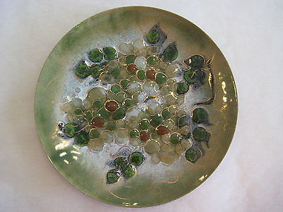 "Vintage Sascha Brastoff Pottery Enamel On Copper Grape Plate, 11 1/2"" X 1"""