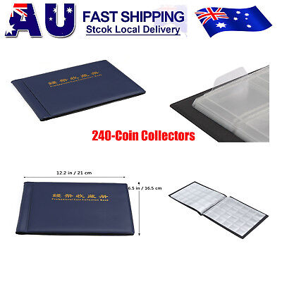 240 Slots Coin Penny Collecting Holder Pockets Storage Folder Album Book Sleeves