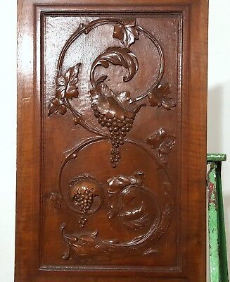 Hand Carved Wood Panel Antique French Griffin Grapes Vine Architectural Salvage