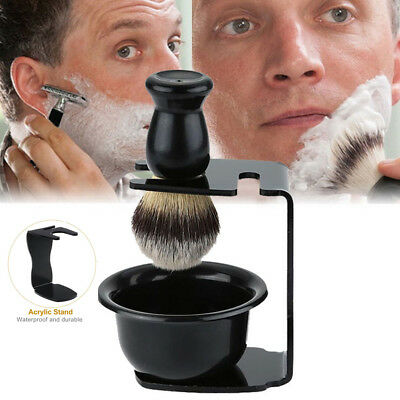 Men Shaving Set Bear Nylon Brush & & Mug Bowl & Stand Grooming Kit