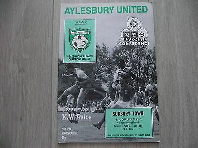 1988-89  Aylesbury Town v Sudbury Town - FA Cup 4th Qual Round