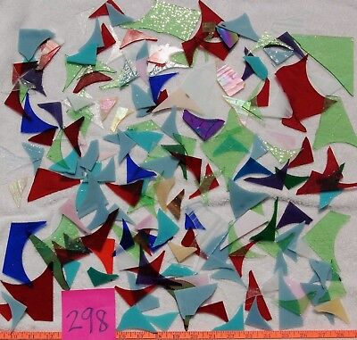 3+Pounds STAINED GLASS SCRAP PIECES Mixed Color Texture MOSAIC ART CRAFT 298