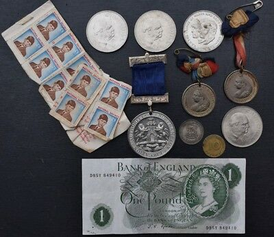 Collection of Old Coins / Medals / Stamps / Note