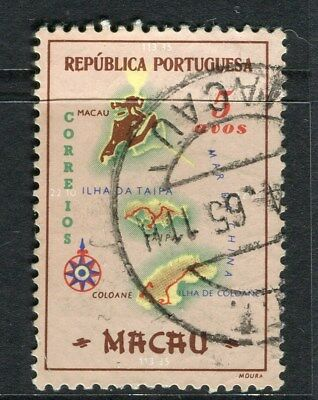 PORTUGAL MACAU  1956 early Map issue fine used 5a. value