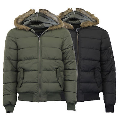 c3067256e318 Mens Jacket Threadbare Coat Padded Quilted Hoodie Fur Bubble Zip Lined  Winter
