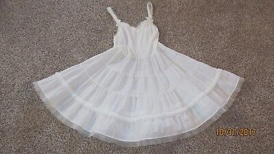 Vintage Girls Her Majesty Size 10 Ivory Full Slip With Tiered Petticoat, Netting