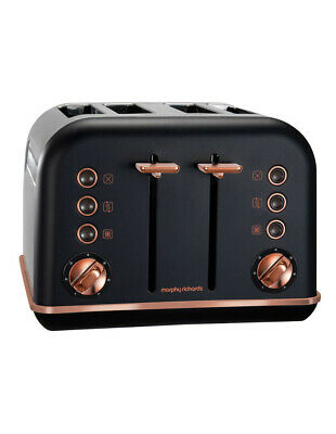 NEW Morphy Richards Accents Rose Gold Collection 4 Slice Toaster Matte Black